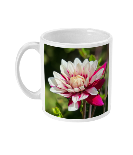 """Open For Business"" Pink Dahlia Double Flower Mug - Nature of Flowers"