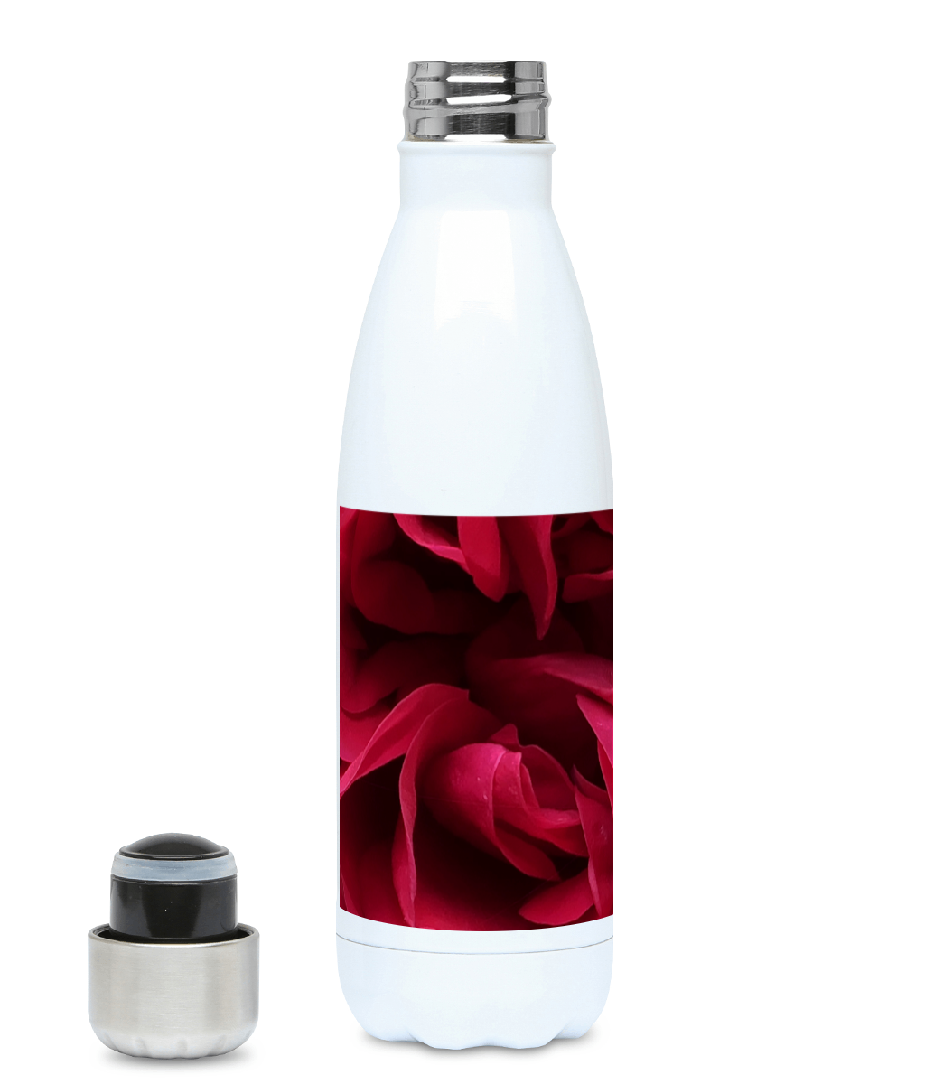"""Back inside to feel the warmth"" Red Flower 500ml Water Bottle - Nature of Flowers"