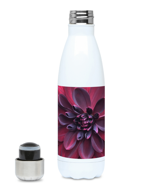 """Into the Darkest Shades"" Purple Red Flower 500ml Water Bottle - Nature of Flowers"