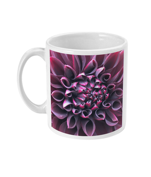 "Open image in slideshow, ""Even in Darkness there is still light"" Purple Dahlia Double Flower Mug - Nature of Flowers"