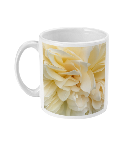 """As Smooth As Silk"" White Rose Double Flower Mug - Nature of Flowers"