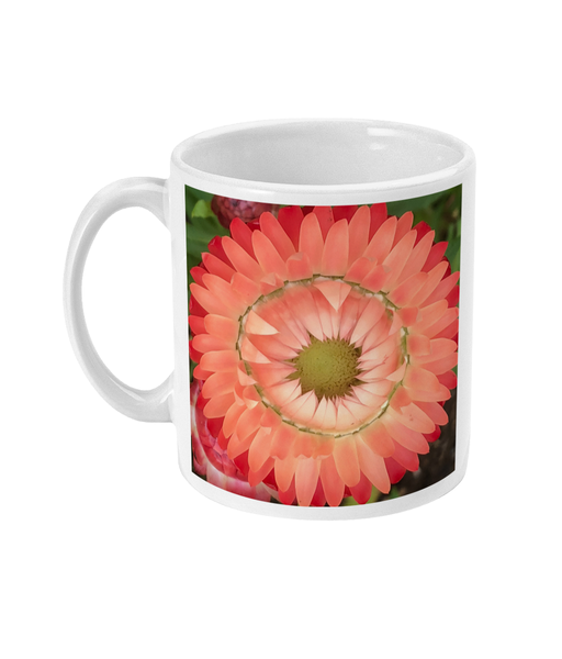 """Completing the circle inside the circle"" Pink Double Flower Mug - Nature of Flowers"