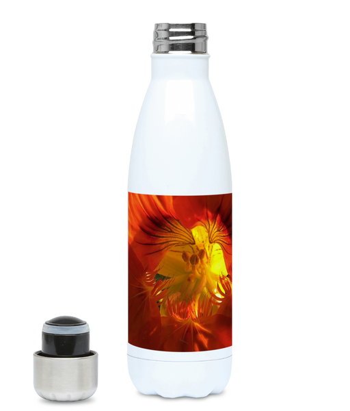"""A Very Close Look Inside"" Red Orange Flower 500ml Water Bottle - Nature of Flowers"