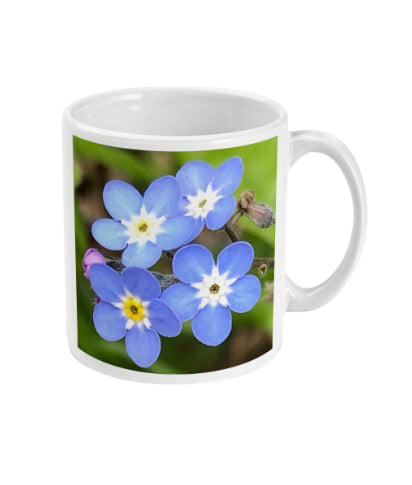 """Least We Never Forget"" Blue Double Flower Mug - Nature of Flowers"