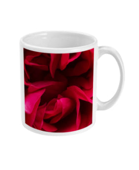 """Back inside to feel the warmth"" Red Rose Double Flower Mug - Nature of Flowers"
