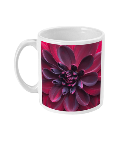 """Into the Darkest Shades"" Purple Red Dahlia Double Flower Mug - Nature of Flowers"