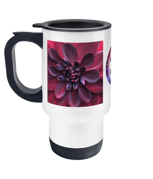 Open image in slideshow, Flower Travel Mug Deep Red Dahlia - Nature of Flowers