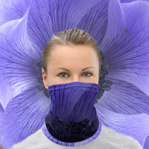 Blue Flower Neck Gaiter - Nature of Flowers