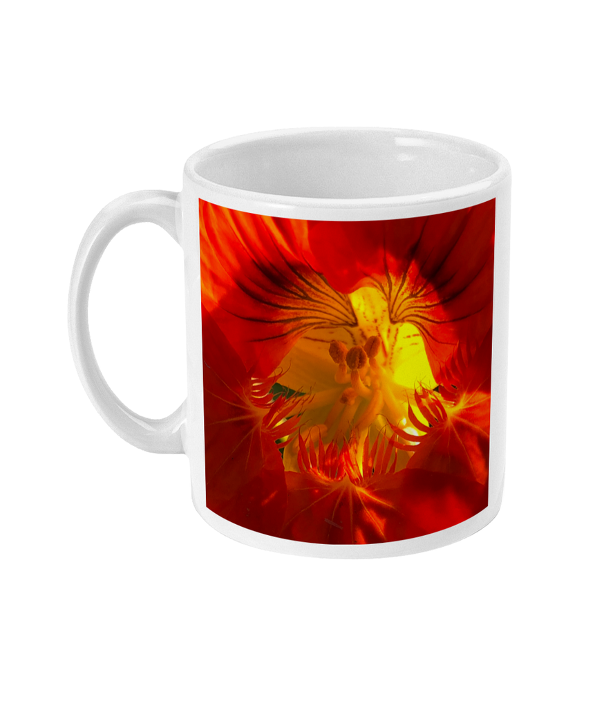 """A Very Close Look Inside"" Red Orange Double Flower Mug - Nature of Flowers"