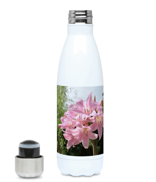 """Pink Lily"" Pink Flower 500ml Water Bottle - Nature of Flowers"