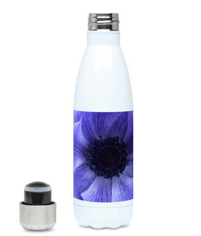 """Catching the blue wave"" Blue Flower 500ml Water Bottle - Nature of Flowers"