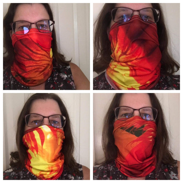 Red Orange Flower Neck Gaiter - Nature of Flowers