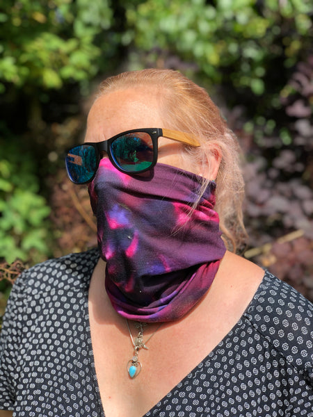 Red Purple Flower Neck Gaiter - Nature of Flowers