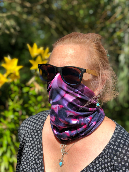 Purple Flower Neck Gaiter - Nature of Flowers