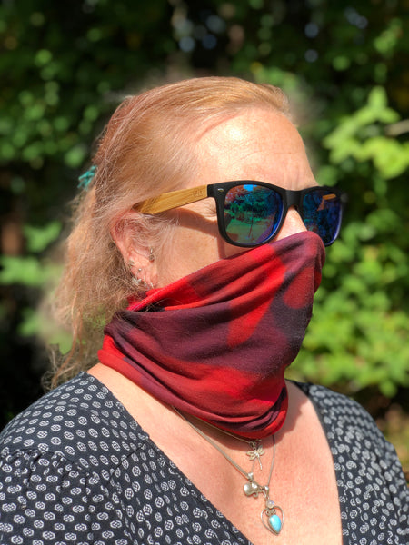 Red Flower Neck Gaiter - Nature of Flowers