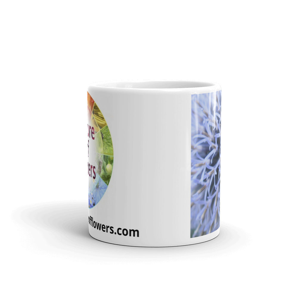 """The Blue Maze Circle"" Blue Flower Glossy Mug - Nature of Flowers"