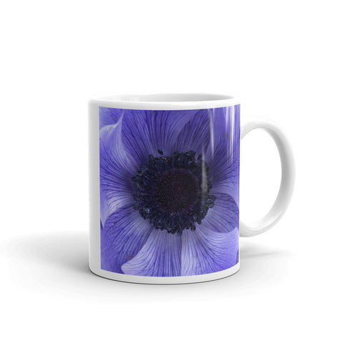 """Catching the blue wave"" Blue Flower Glossy Mug - Nature of Flowers"