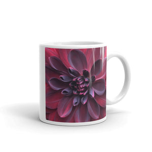 """Into the Darkest Shades"" Purple Red Dahlia Flower Glossy Mug - Nature of Flowers"