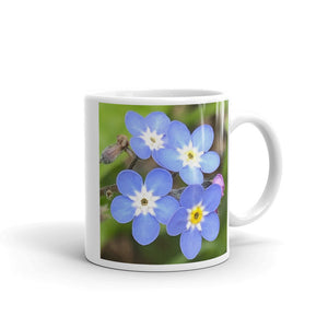 """Least We Never Forget"" Blue Flower Glossy Mug - Nature of Flowers"