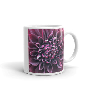 """Even in Darkness there is still light"" Purple Dahlia Flower Glossy Mug - Nature of Flowers"