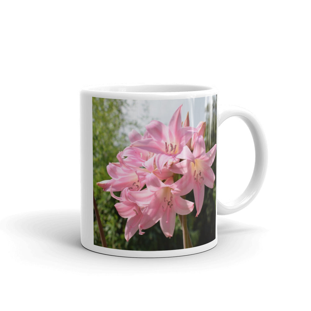 """Pink Lily"" Pink Flower Glossy Mug - Nature of Flowers"