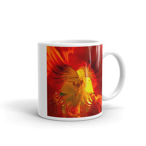 """A Very Close Look Inside"" Red Orange Flower Glossy Mug - Nature of Flowers"