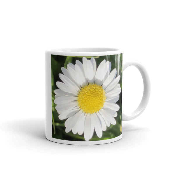 """Completing the almost perfect circle 2"" White Daisy Flower Glossy Mug - Nature of Flowers"