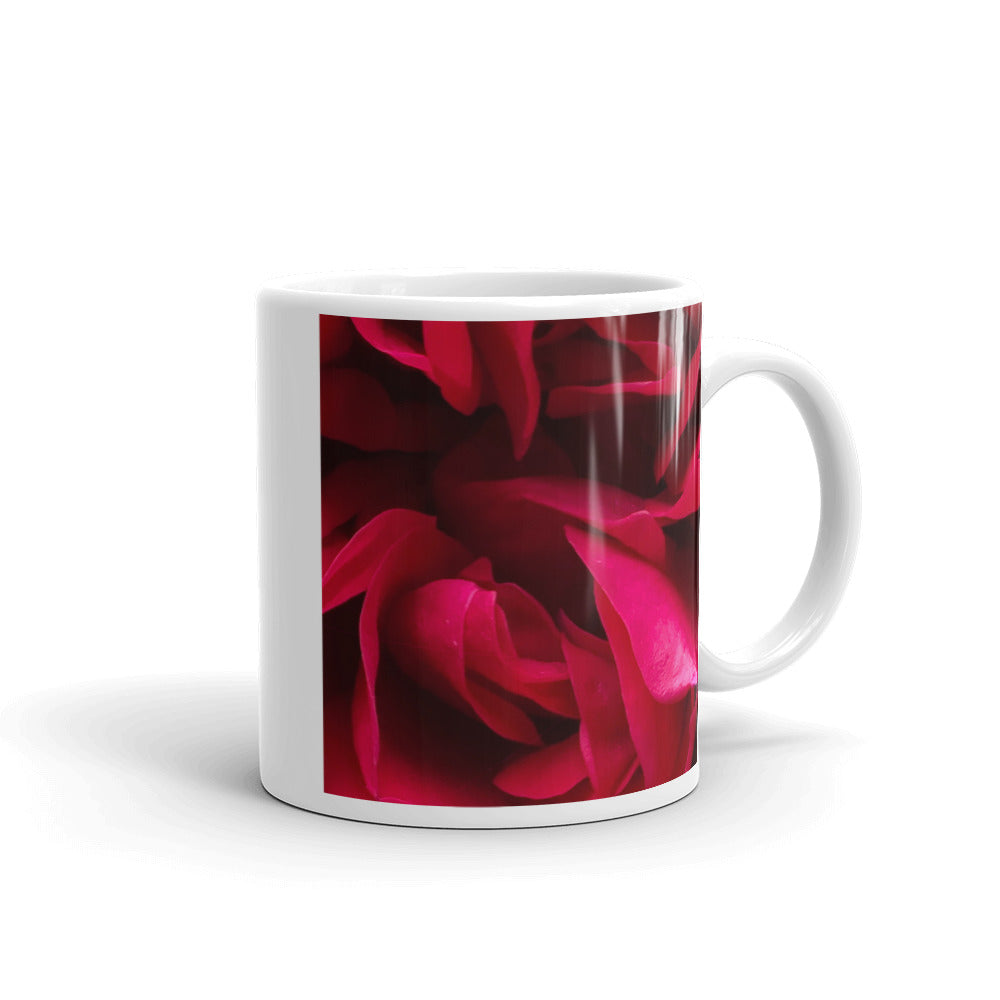"""Back inside to feel the warmth"" Red Rose Flower Glossy Mug - Nature of Flowers"