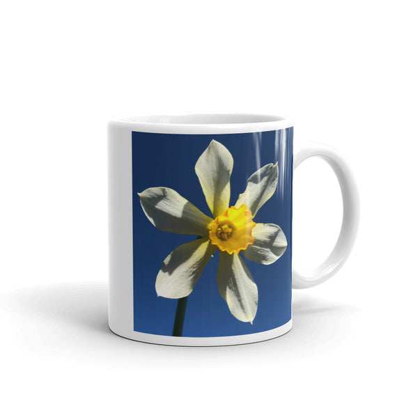 """Find your Peace"" Yellow Daffodil Flower Glossy Mug - Nature of Flowers"