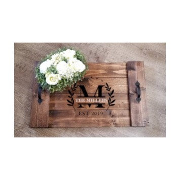 Monogrammed Wood Serving Tray with Handles