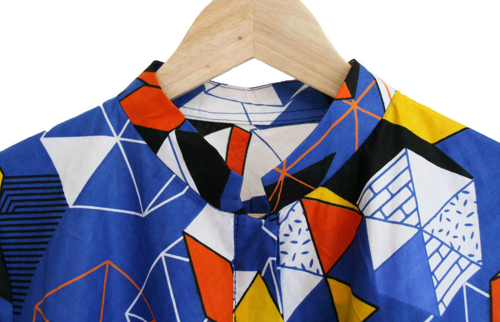 Bold, geometric dress made in Africa