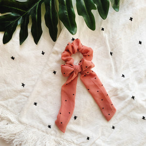 Hair Scrunchie + Bow in Coral