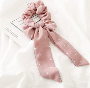Hair Scrunchie + Bow in Blush