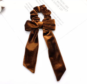 Hair Scrunchie + Bow in Coffee Velvet