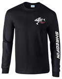 ShredFin Black Long Sleeve T-Shirt (Logo Front & Back)