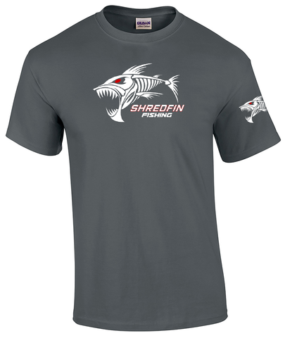 ShredFin Charcoal Gray Sleeve T-Shirt (White & Red Logo)