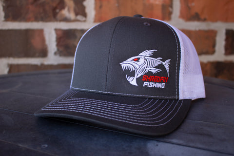 ShredFin Charcoal Gray & White Hat