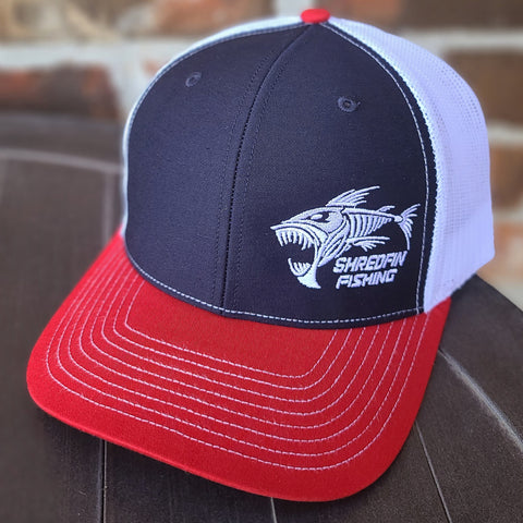ShredFin Tri-Color Hat (Red / White / Navy)