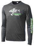 ShredFin Iron Gray Long Sleeve DriFit (White & Neon Green Logo)