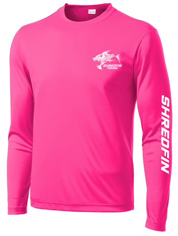 ShredFin Neon Pink Long Sleeve DriFit Shirt