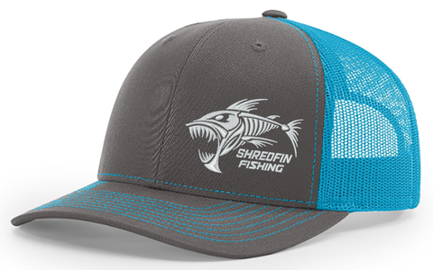 ShredFin Charcoal Gray & Neon Blue Hat