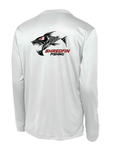 ShredFin White Long Sleeve DriFit (Logo Front and Back)