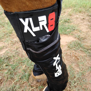 XLR8 Cryo Boots horse leg ice sock with ice in pockets.