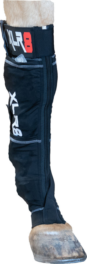 XLR8 Equine Cryo Boot ice socks for horses. Copper, bioceramic, Far-Infrared compression with ice pockets, velcro, and zippers.