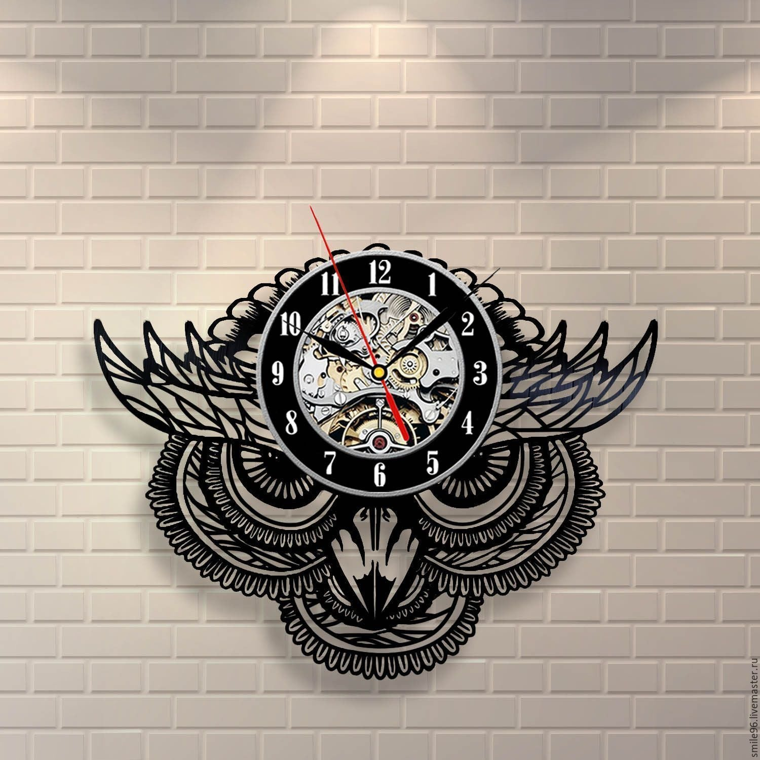 Mysterious Owl Vinyl Record Wall Clock