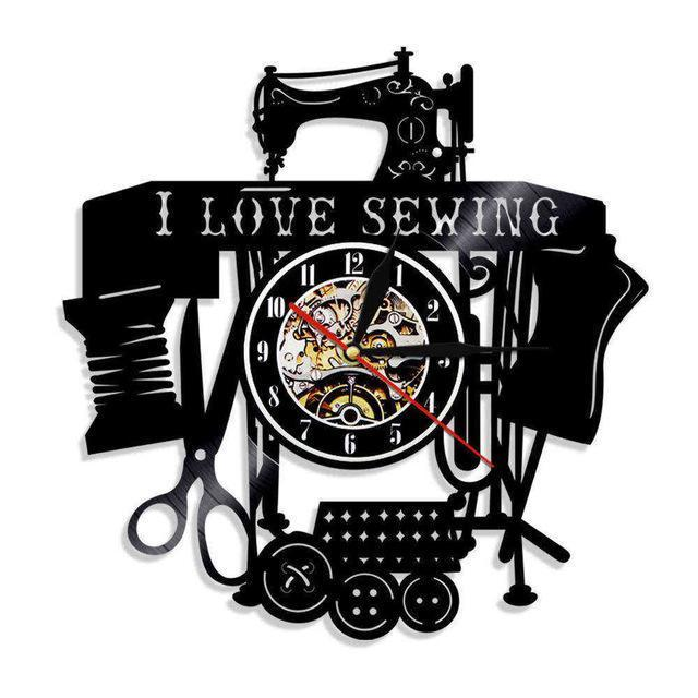 Love Sewing Vinyl Wall Clock