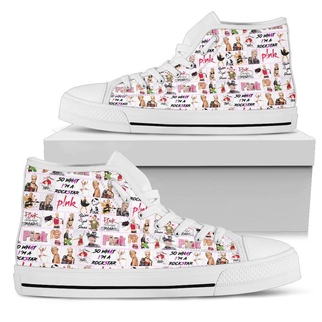 Women's High Top Shoes - P!nk Singer - gopowear.com