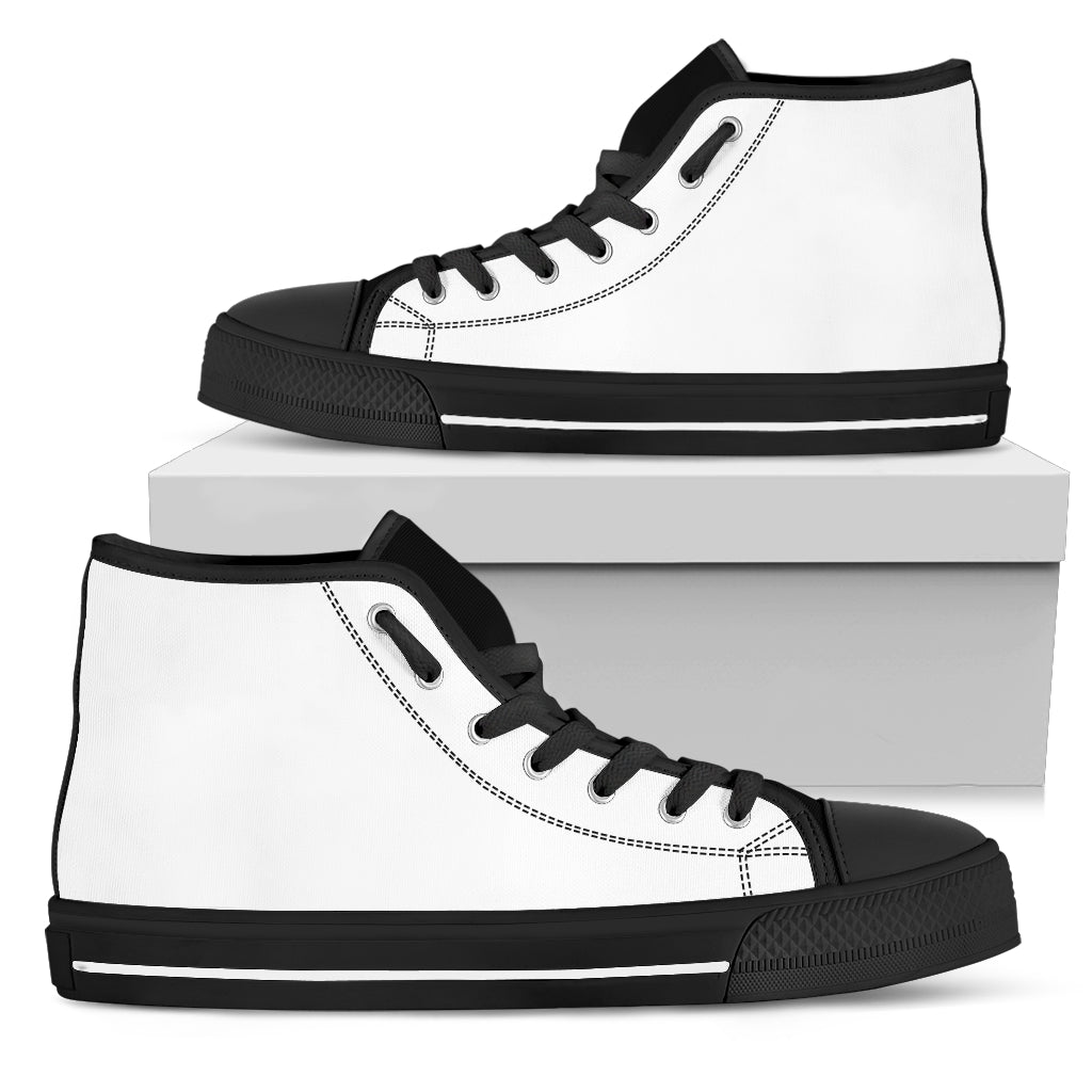 Pure White High Top Shoes- black