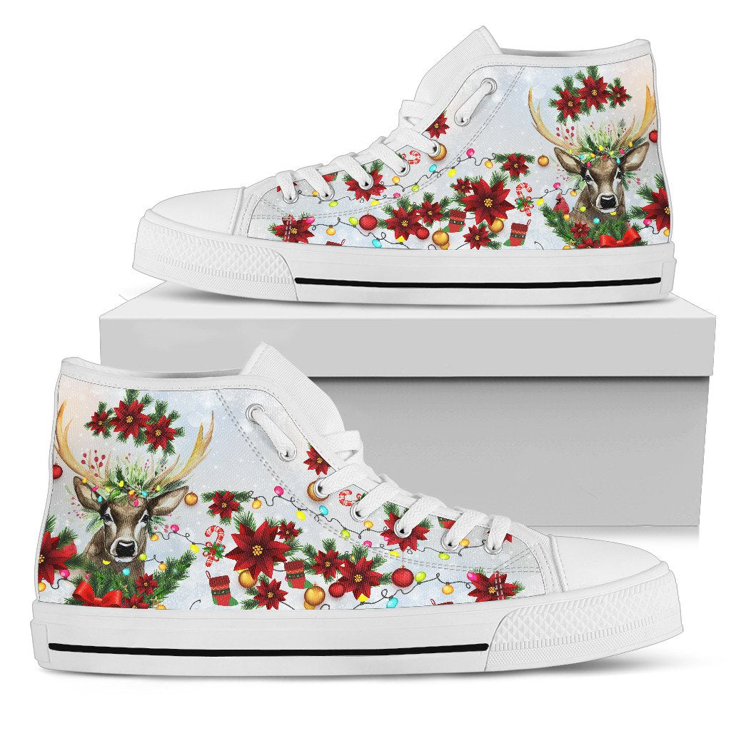 Women's High Top Shoes - Christmas Deer