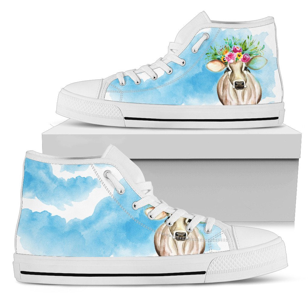 Women's High Top Shoes - Floral Cow